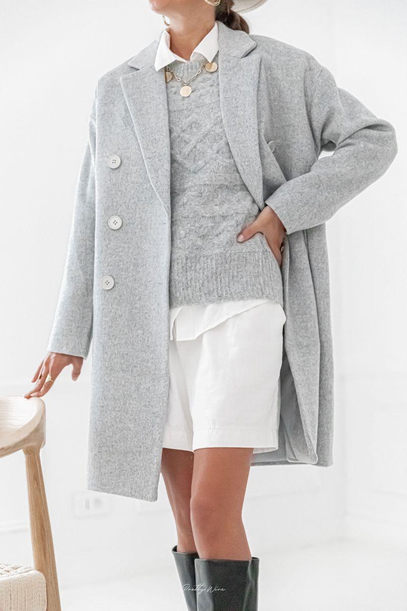 AARON Gris - Manteau en laine