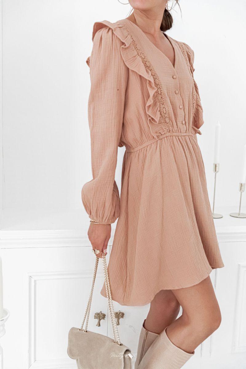 ANNA Taupe - Robe en gaze de coton