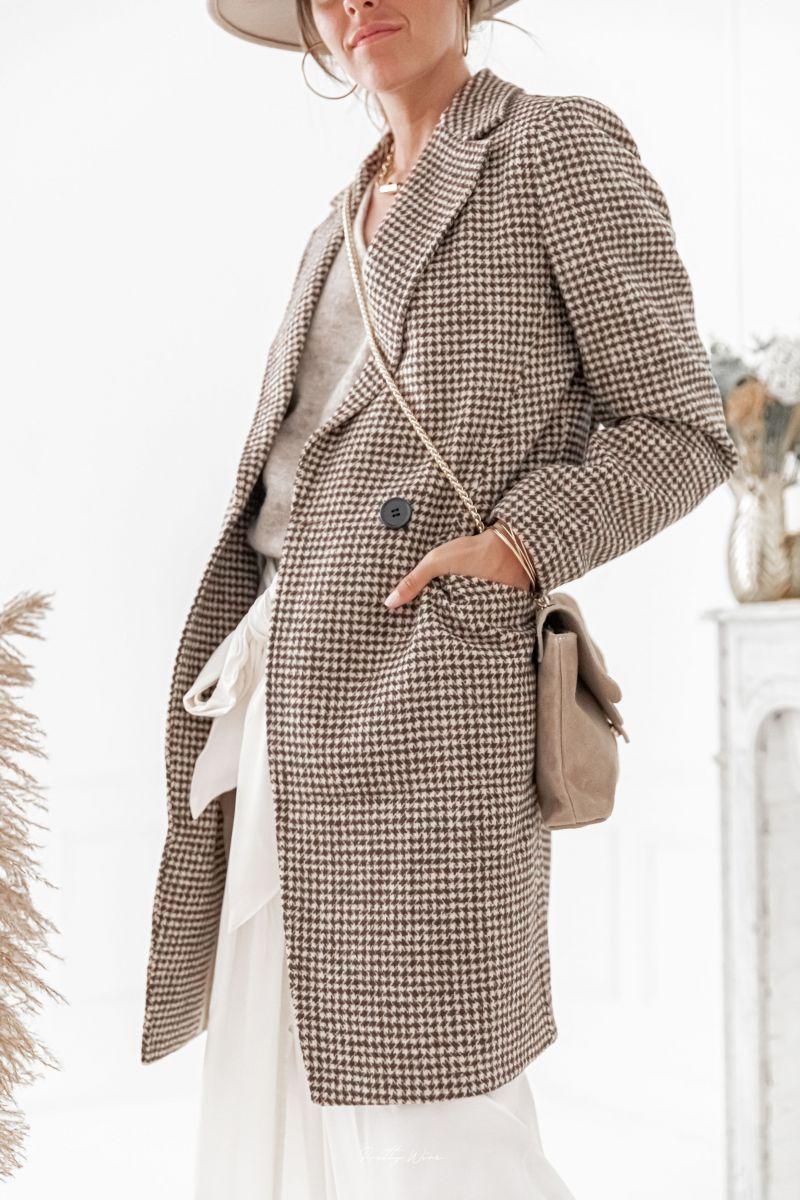 MARIUS Chocolat - Manteau pied de poule