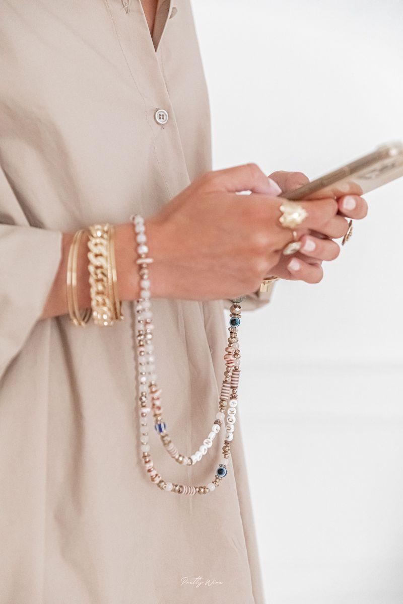 CHANCE LUCKY Blanc et Rose - GRAND cordon de téléphone