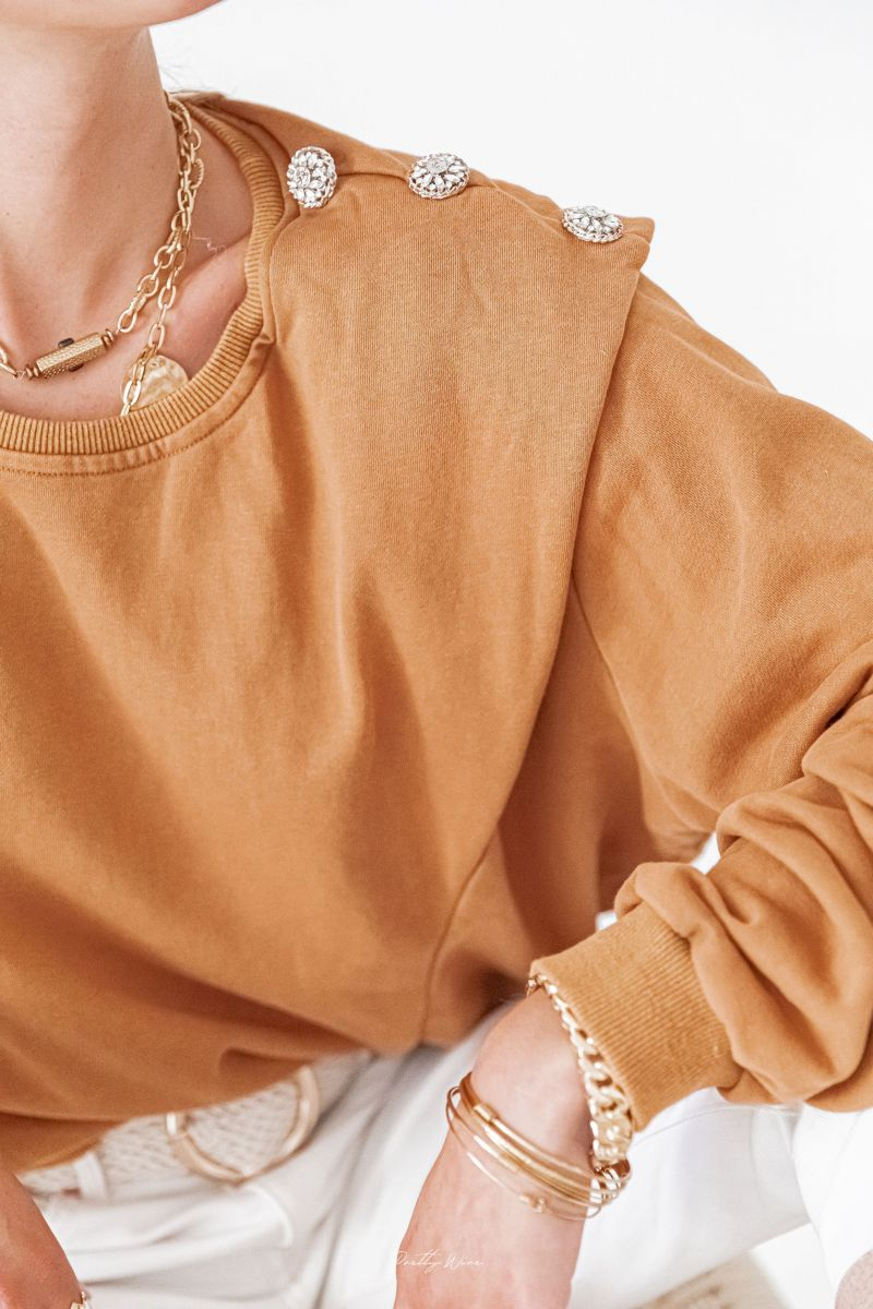 HÉLIE Camel - Sweat à épaulettes