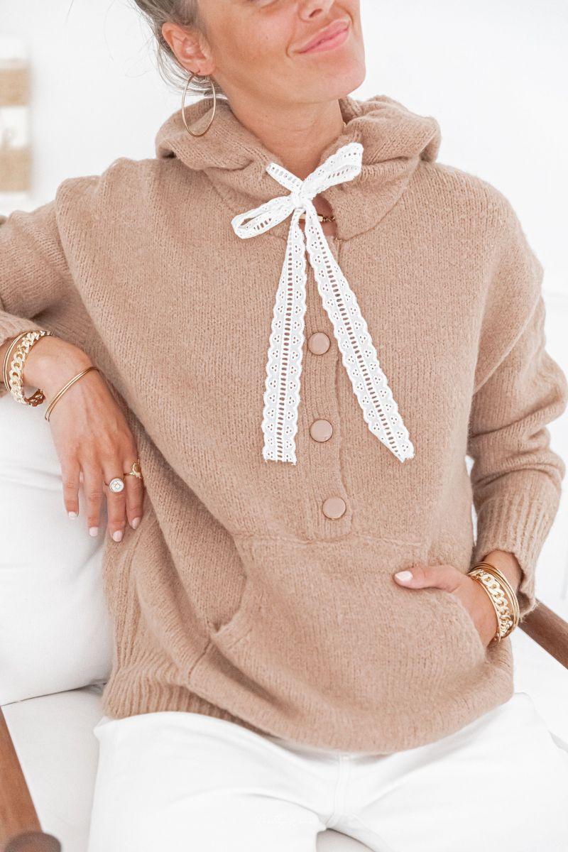 ALAÏS - Pull en laine à capuche