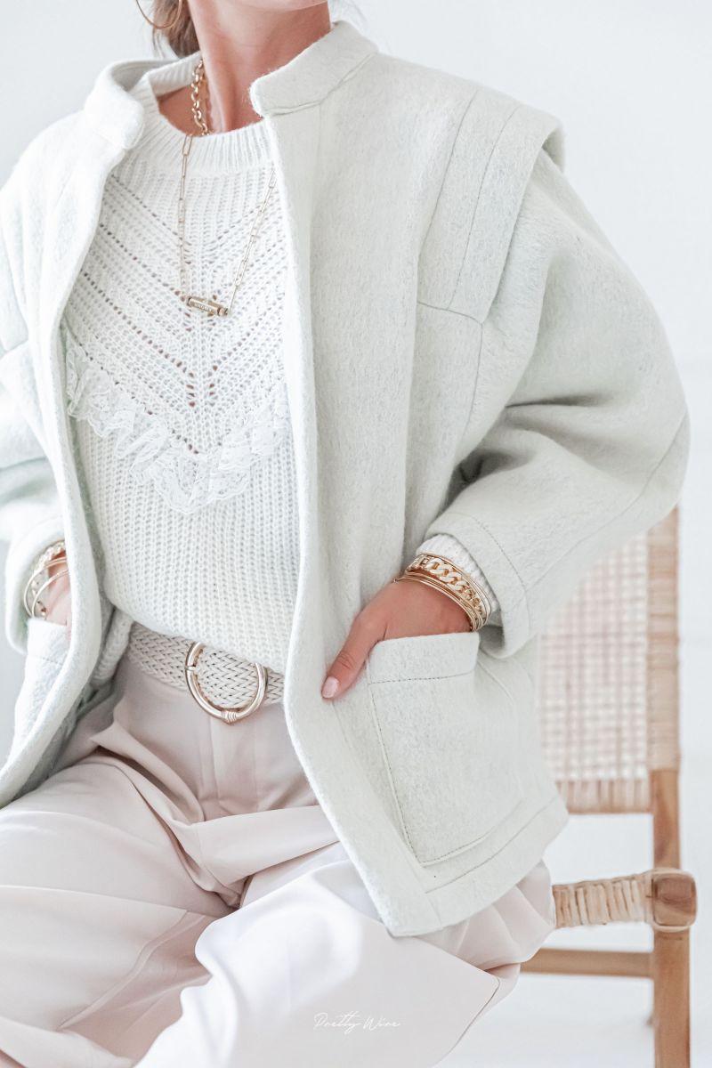 DAPHNE Grise - Veste en laine à épaulettes
