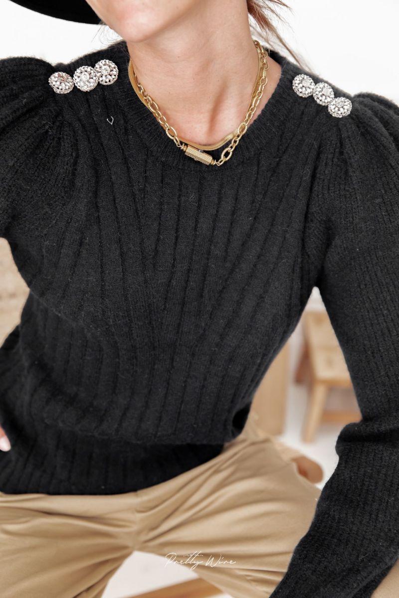 ALINA Noir - Pull manches gigots