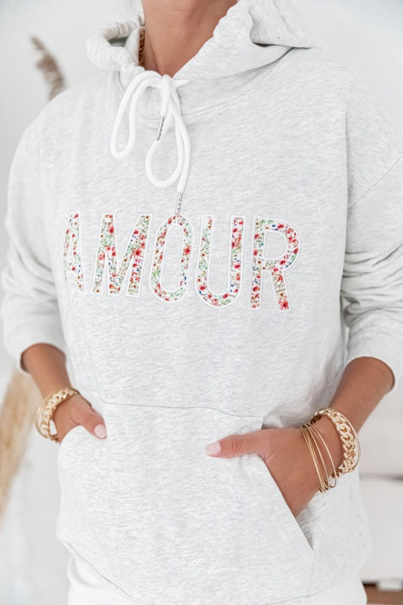 AMOUR FLEURI Gris - Sweat loose