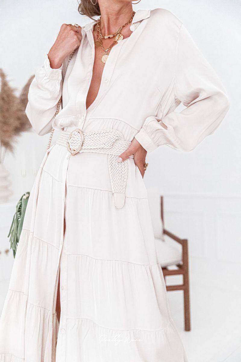 AZALÉE Beige - Robe longue boutonnée