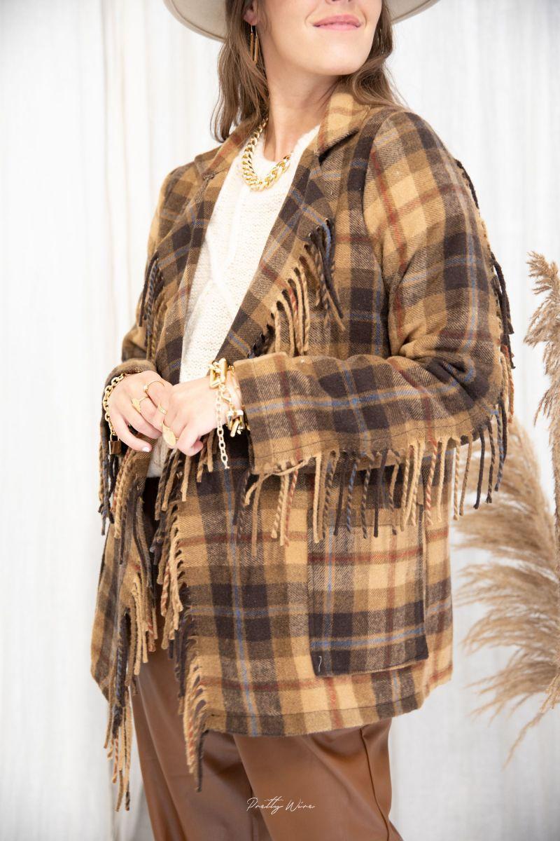 KATE carreaux - Veste en laine à franges