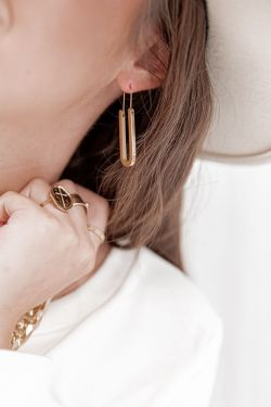 ENZA - Boucles d'oreilles acier doré