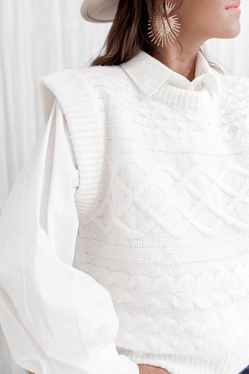 ORLANE Blanc - Maille en laine sans manches