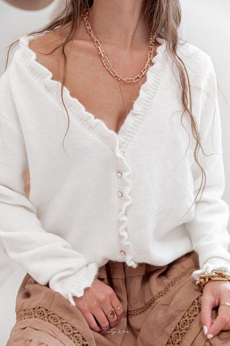 ENOLA Blanc - Gilet en laine