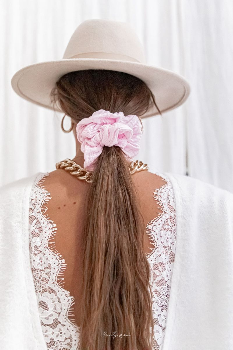 SCRUNCHIE ROSE PÂLE - gaze de coton XL