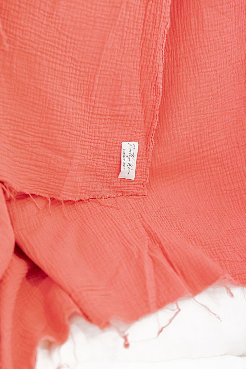 PEPITE FRAMBOISE - Drap/plaid en gaze de coton