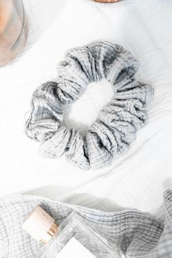 SCRUNCHIE Gris - gaze de coton XL