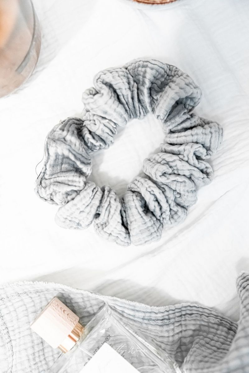 SCRUNCHIE Gris - gaze de coton XL