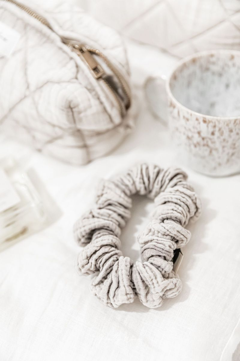 SCRUNCHIE Taupe - gaze de coton XL