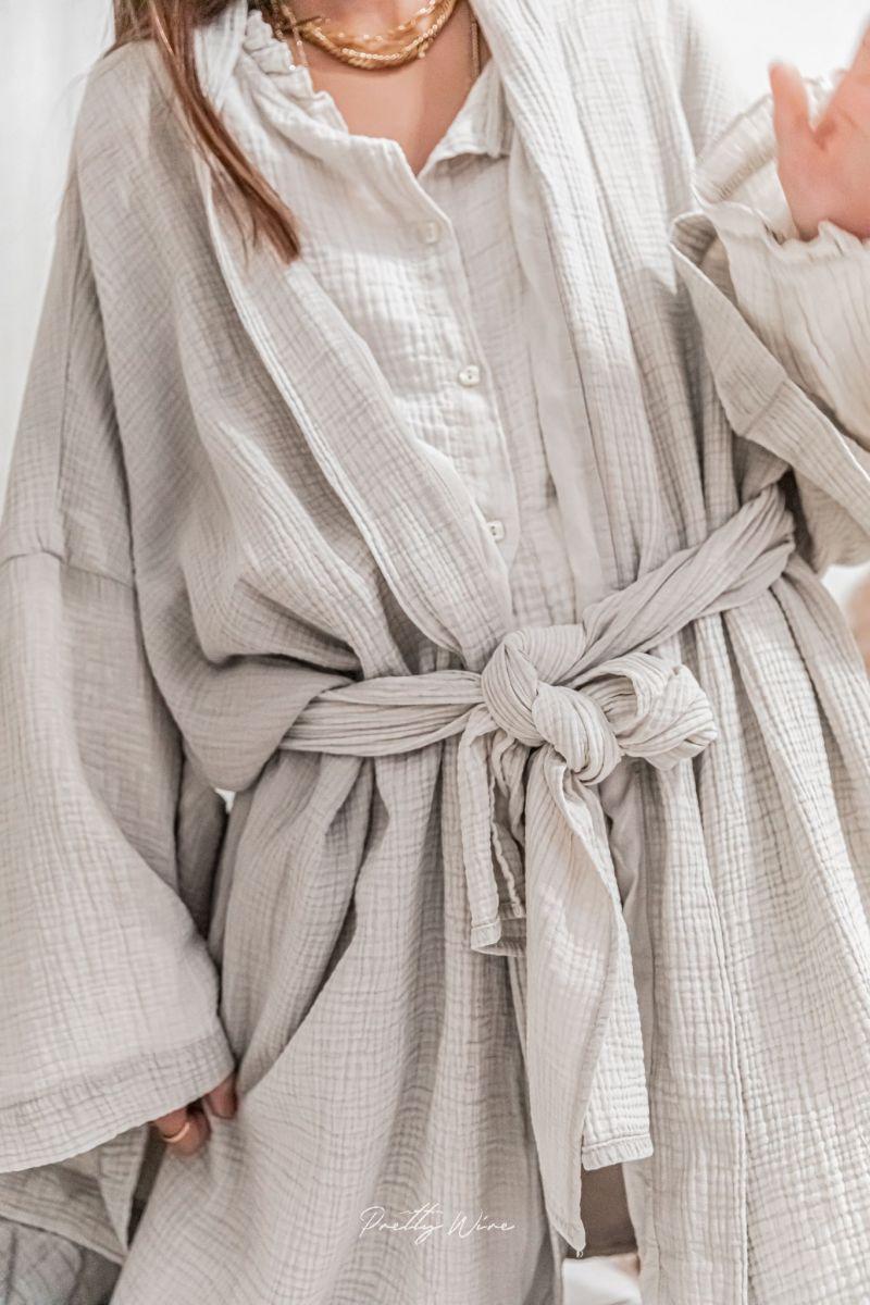 WABI Taupe - Kimono en gaze de coton