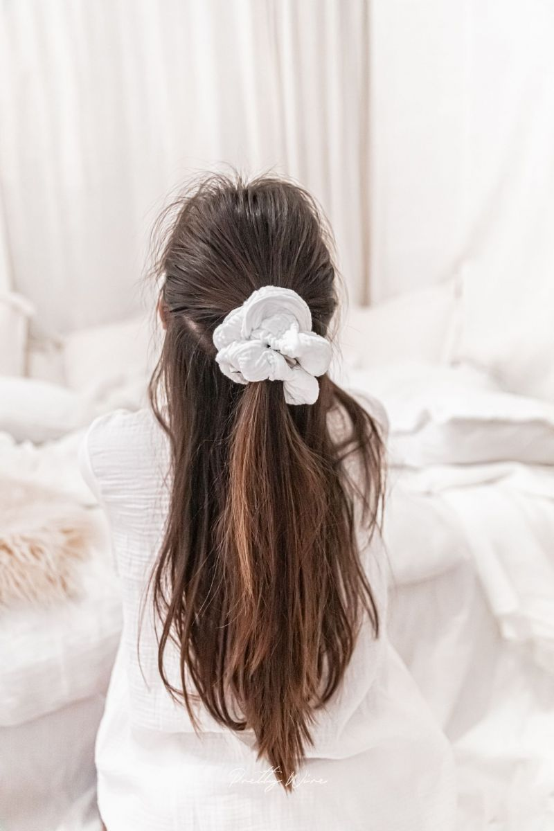 SCRUNCHIE BLANC - gaze de coton XL