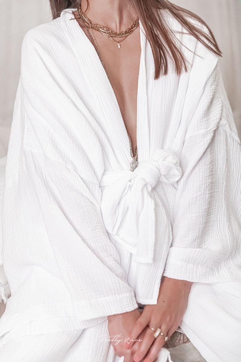 WABI Blanc - Kimono en gaze de coton