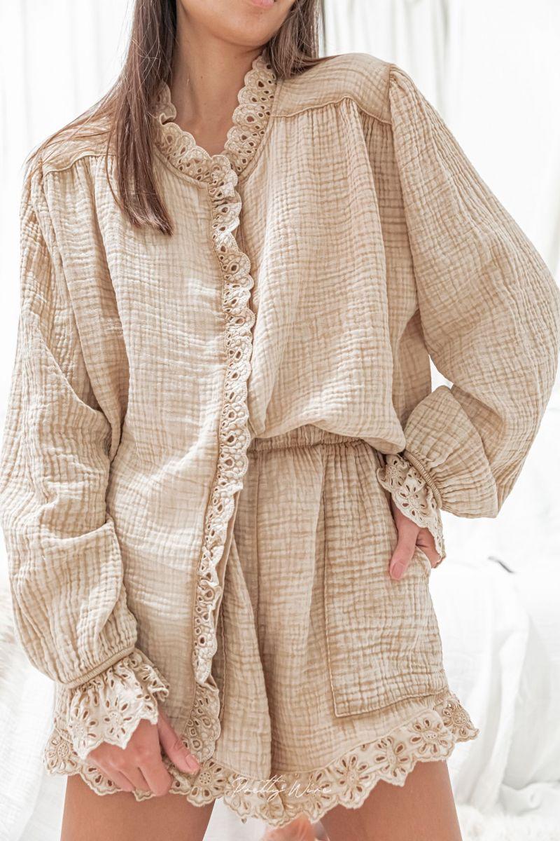 RÊVE Sable - Pyjama en gaze de coton