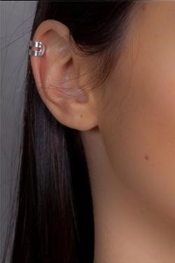 Bijou d'oreille double anneau argent