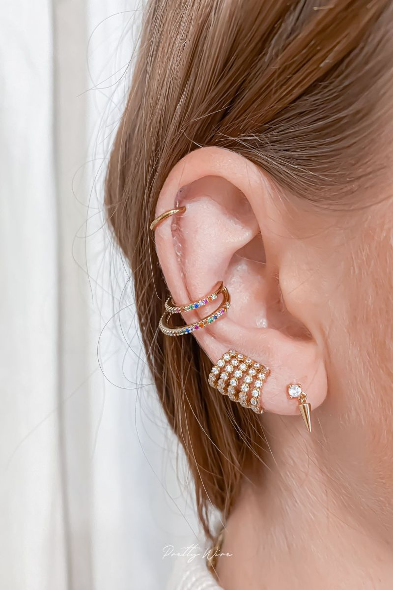1 PETIT DOUBLE CERCLE MULTICOLORE - Bague d'oreille Plaqué Or et Zirconium