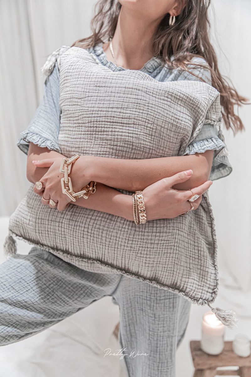 MORPHEE Gris - Pyjama en gaze de coton
