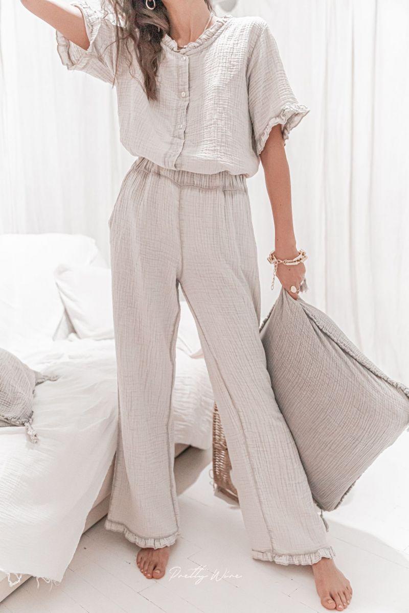 MORPHEE Taupe - Pyjama en gaze de coton