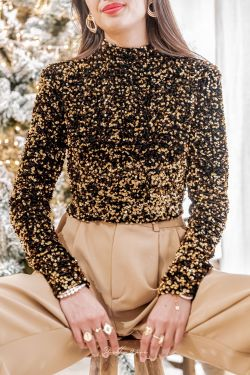 SPARKLY Bronze - Crop top à sequins