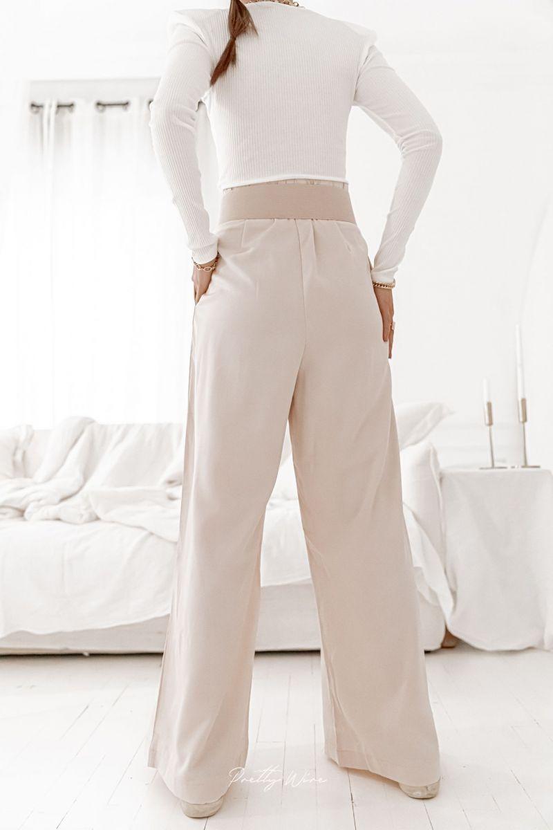 FRANCE Beige - Pantalon large fluide