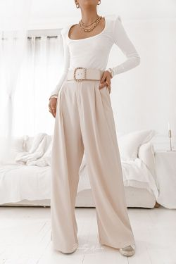 FRANCE Beige - Pantalon large fluide
