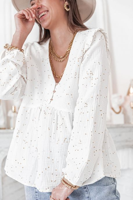 LENA Blanche - Blouse à pois en gaze de coton