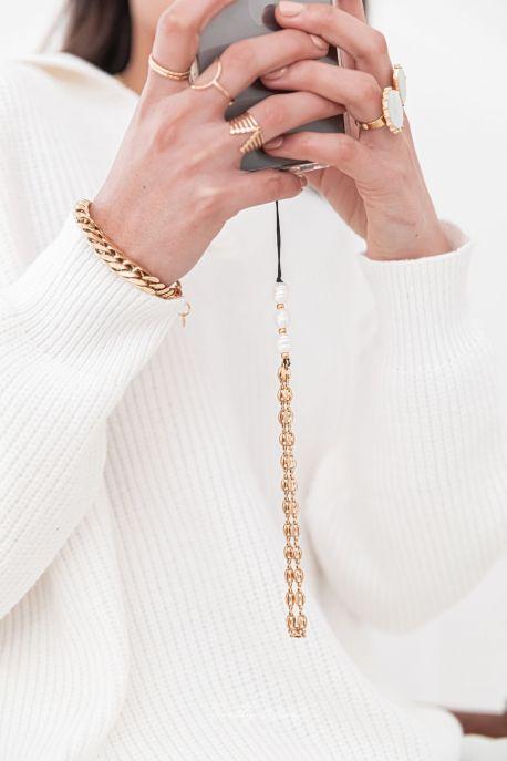LAYLA Doré - PETIT Cordon de téléphone acier