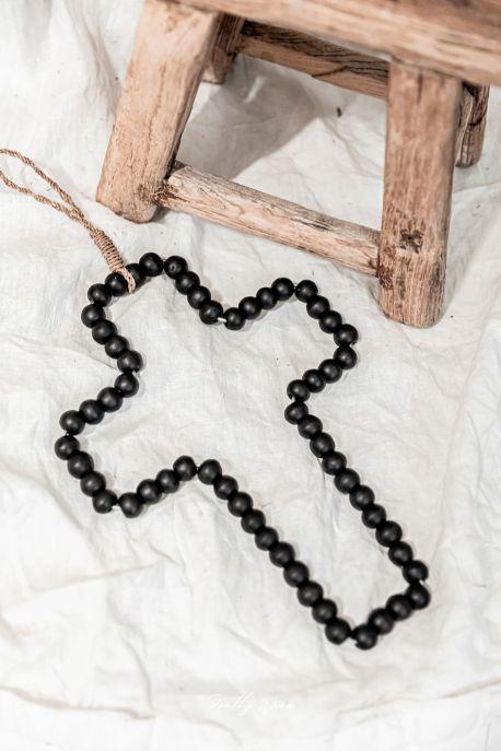 SIXTINE Noire - Croix en bois 30 cm