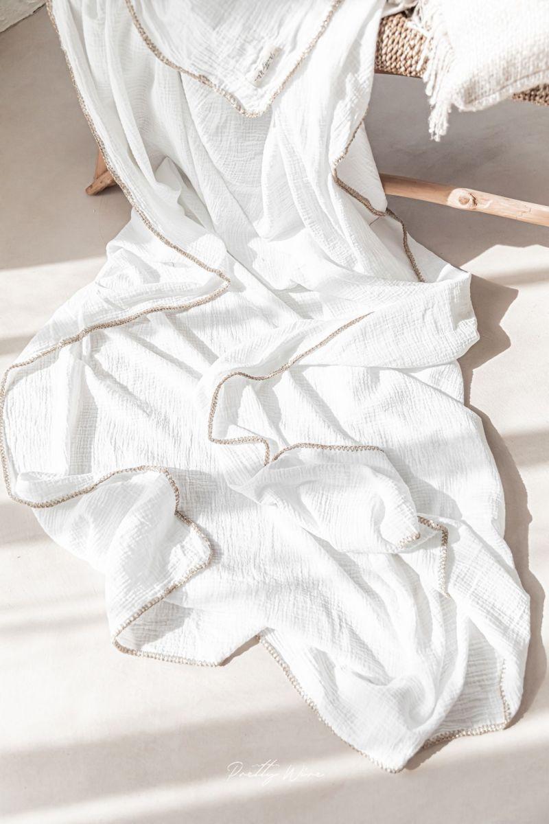 PEPITE LUREX Blanc - Drap/plaid en gaze de coton
