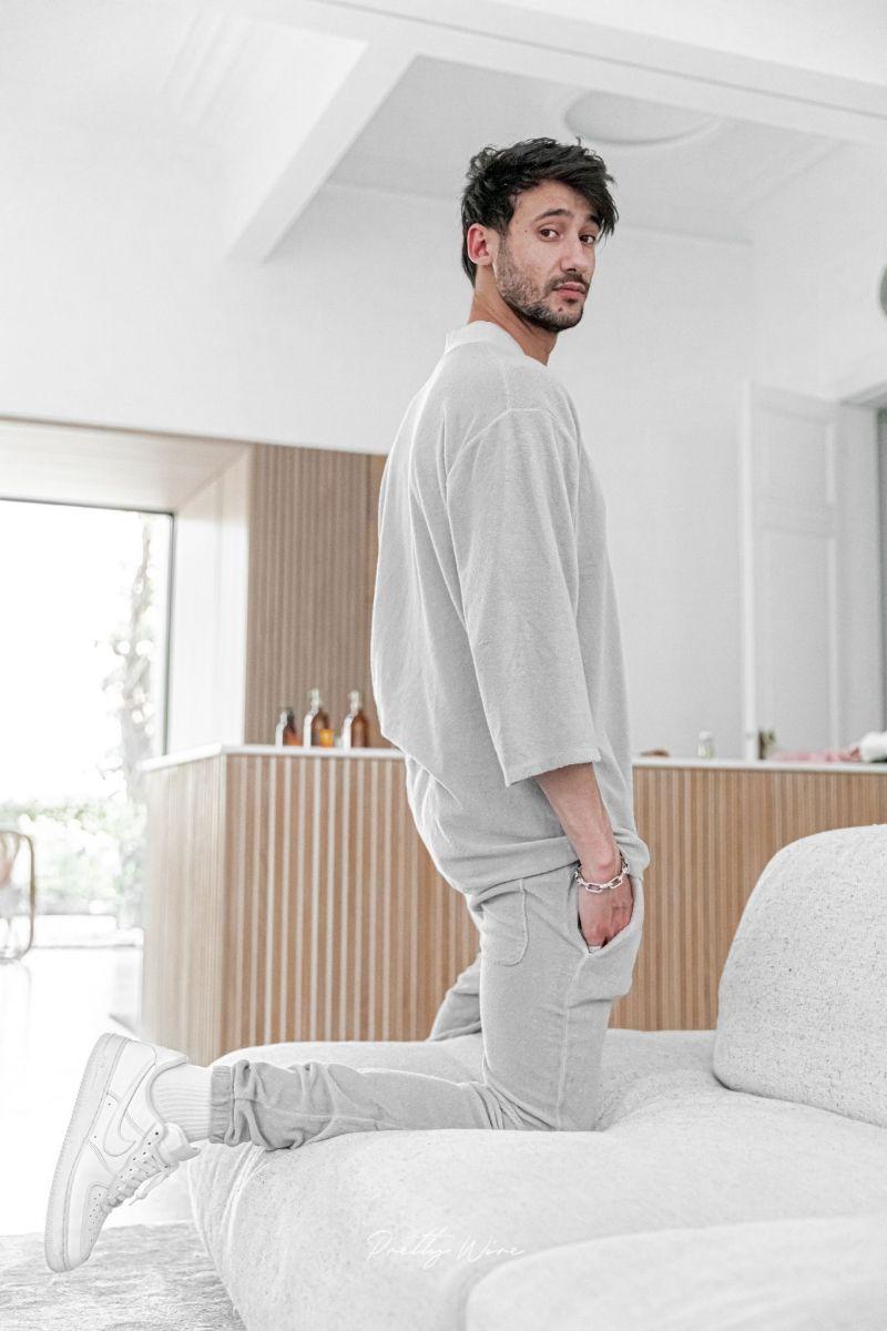 [Ezra] Grigio - T-Shirt Col V Eponge