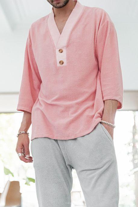[Ezra] Blush - T-Shirt Col V Eponge
