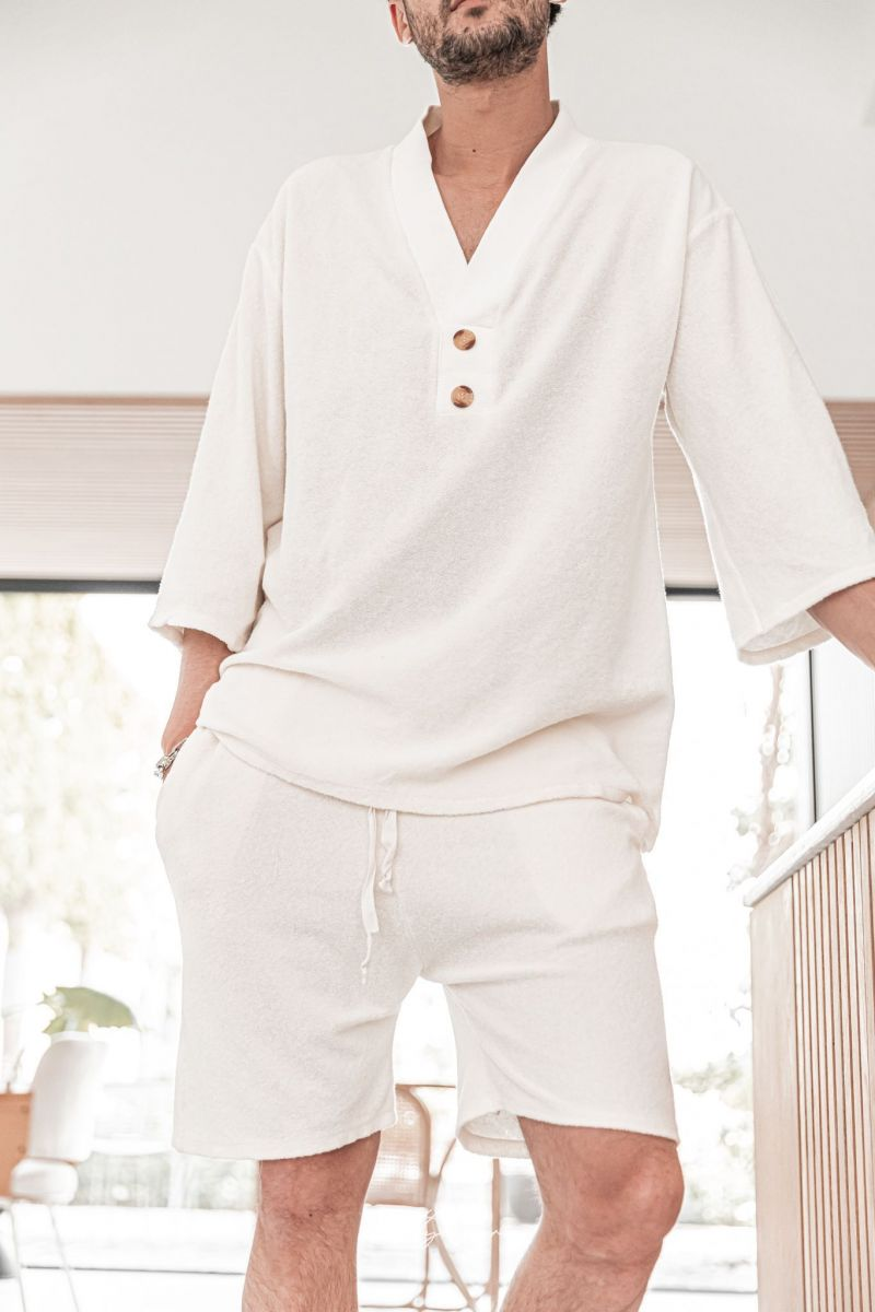 [Ezra] Milk - T-Shirt Col V Eponge
