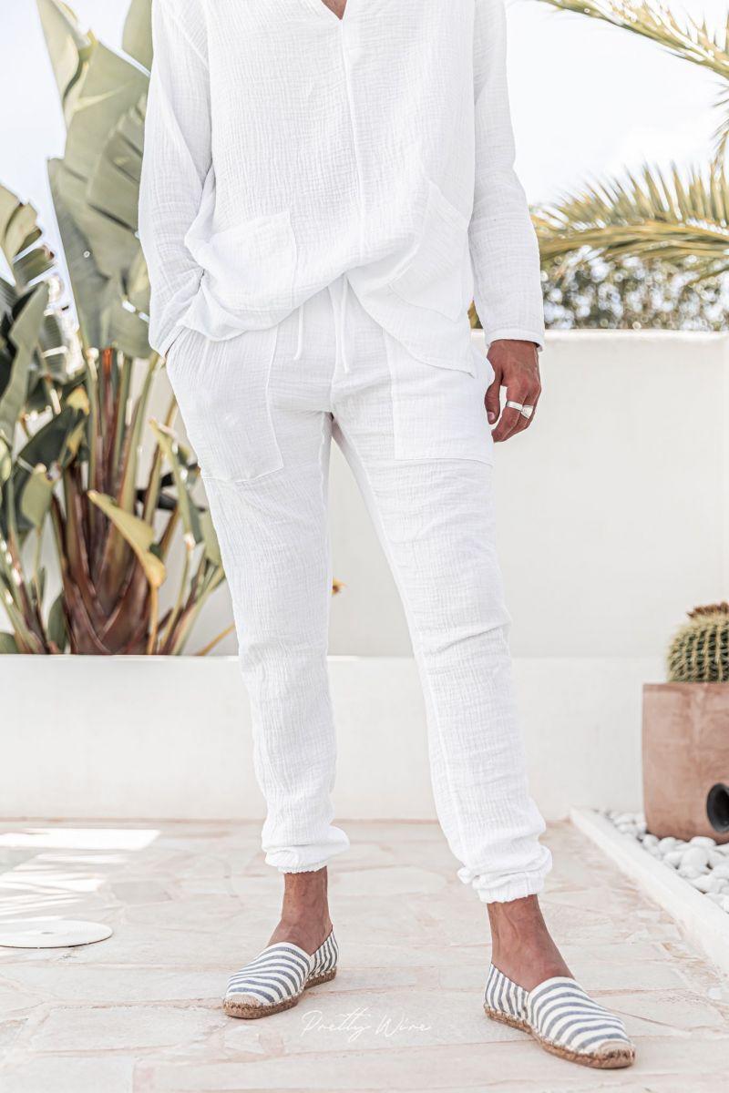 [Yoni] Blanc - Pantalon en Gaze de Coton avec élastique
