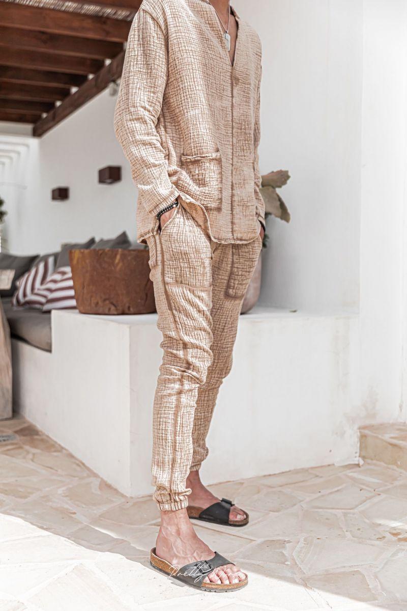[Yoni] sable - Pantalon en Gaze de Coton avec élastique