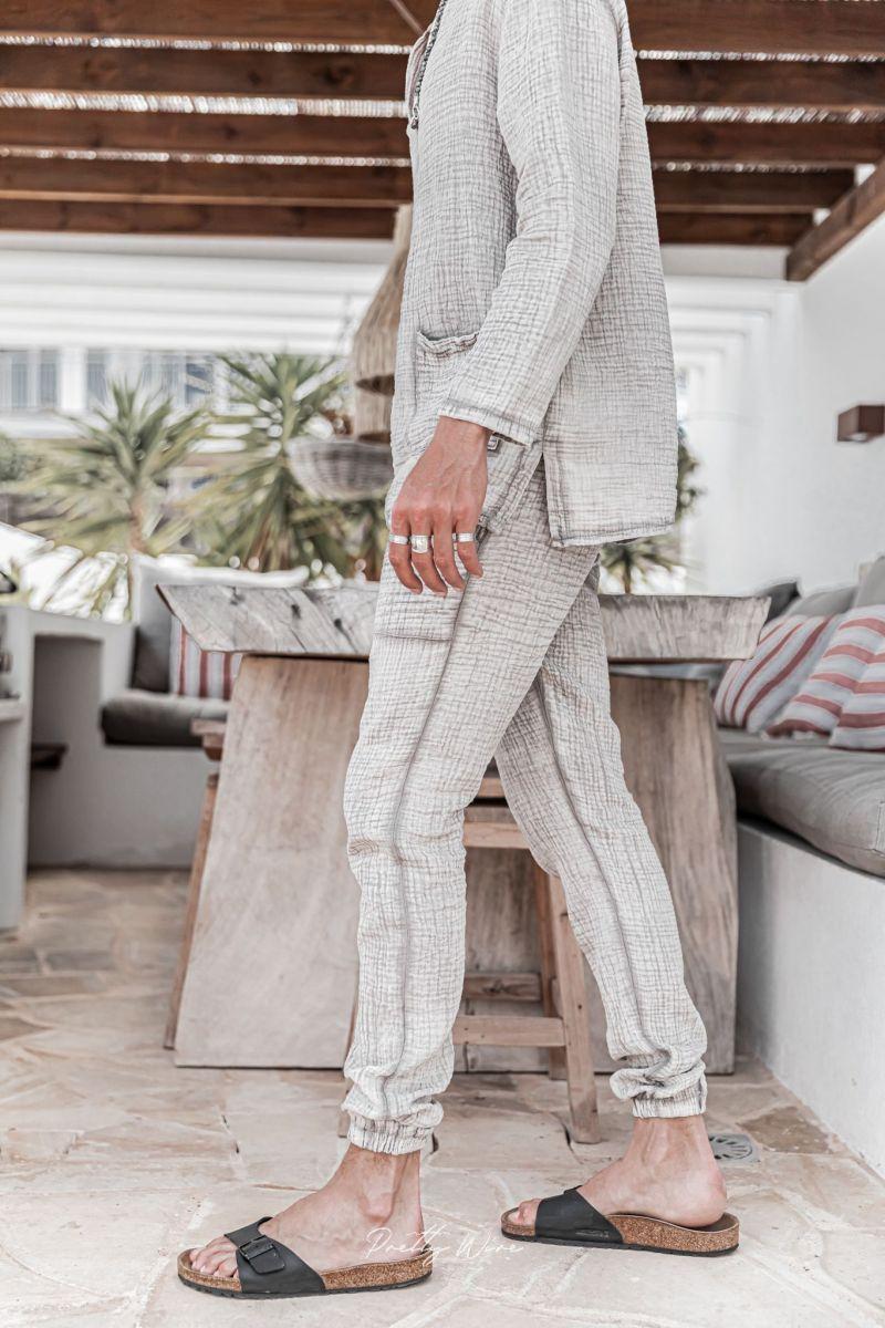 [Yoni] Taupe - Pantalon en Gaze de Coton avec élastique