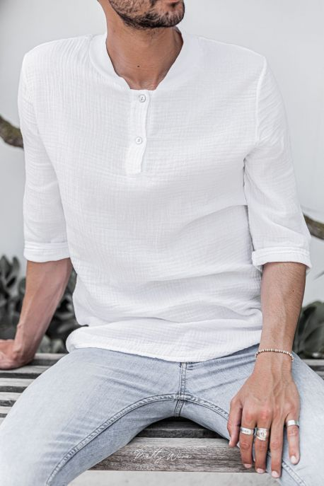 [Mirage] Blanc - T-Shirt Col Tunisien en Gaze de Coton
