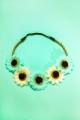 Headband marguerites ecrues et vertes pâles