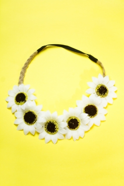 Headband marguerites blanches