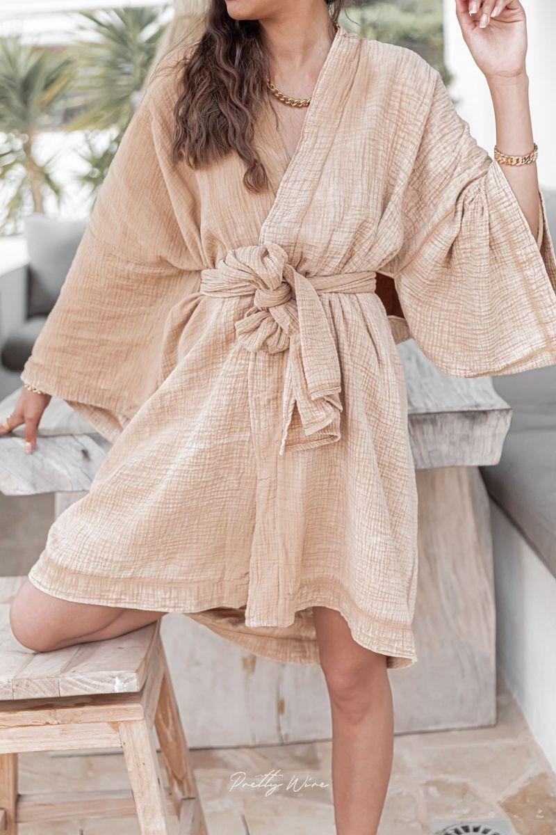 WABI Sable - Kimono en gaze de coton