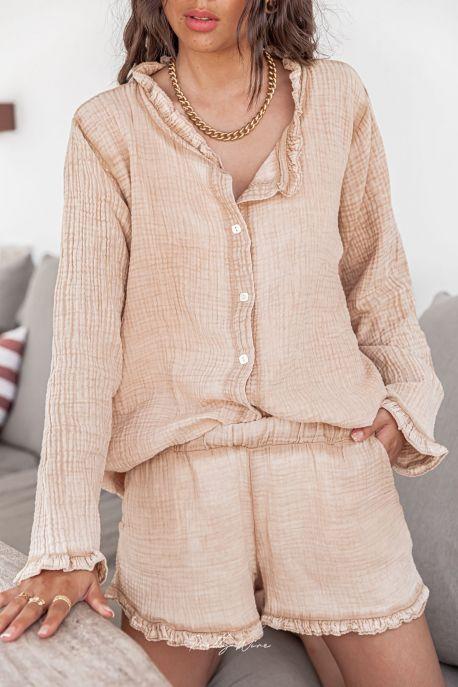 SONGE Sable - Pyjama en gaze de coton