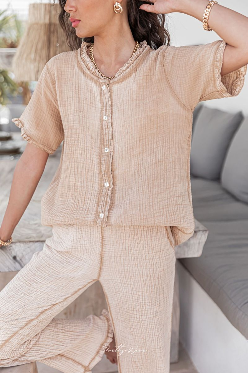 MORPHEE Sable - Pyjama en gaze de coton
