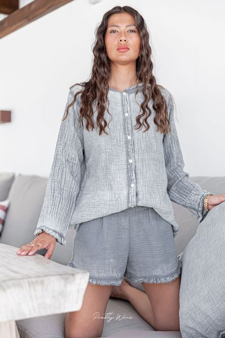 SONGE Gris - Pyjama en gaze de coton