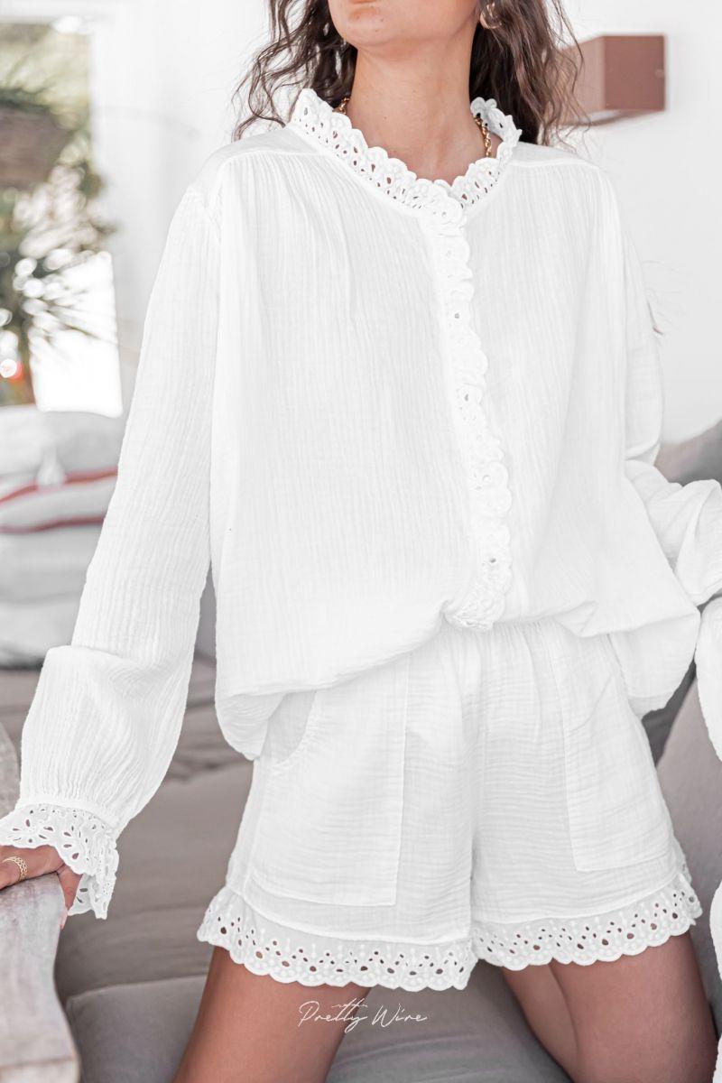 RÊVE BLANC - Pyjama en gaze de coton