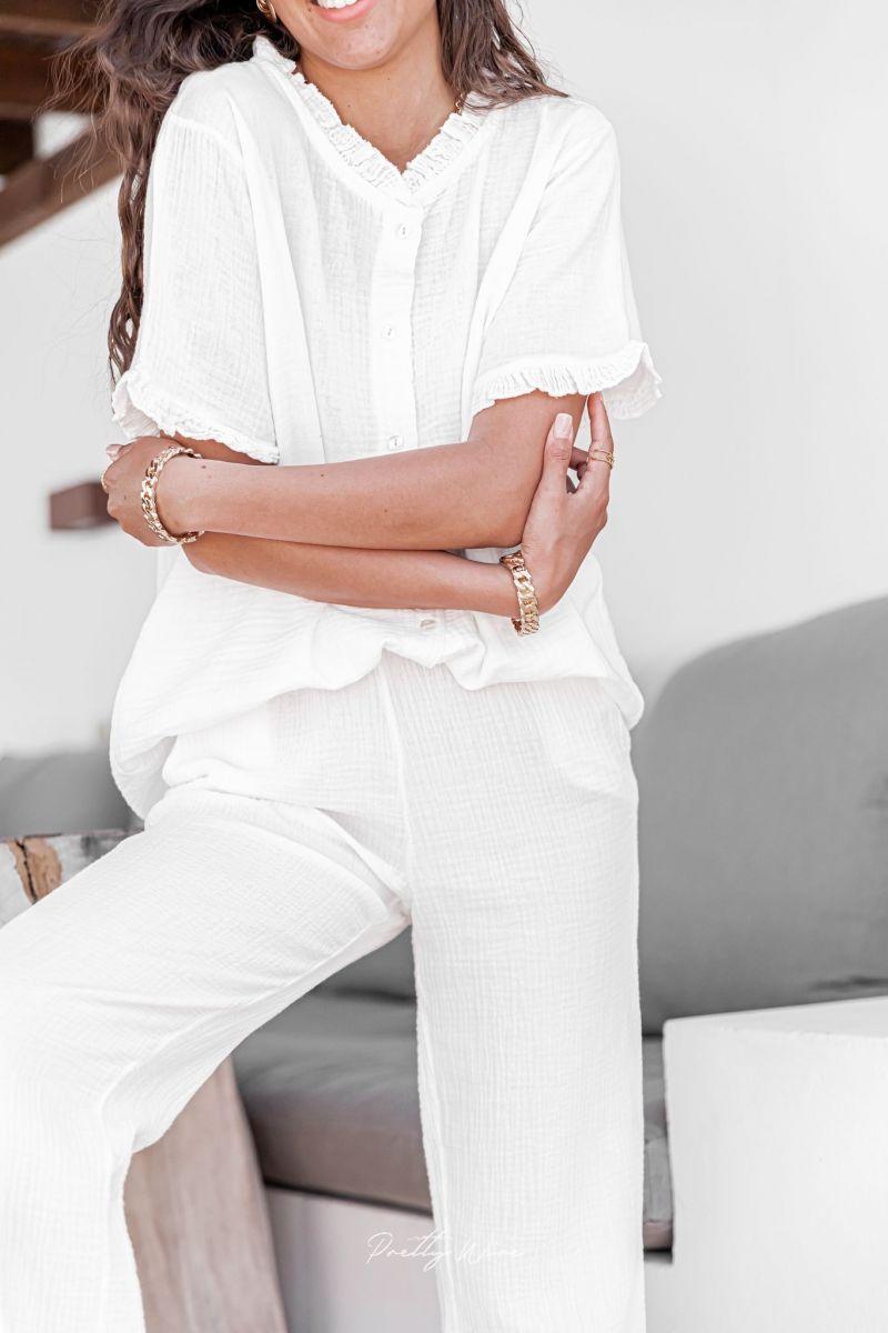 MORPHEE Blanc - Pyjama en gaze de coton