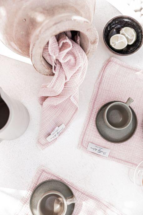 GAIA Rose - Serviette de table en gaze de coton